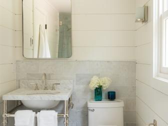 White Country Bathroom With Marble Backsplash