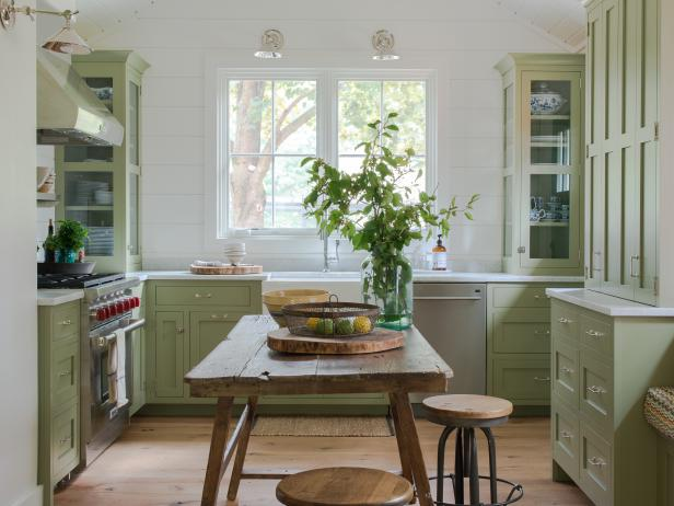 Modern Cottage Kitchen With Green Cabinets