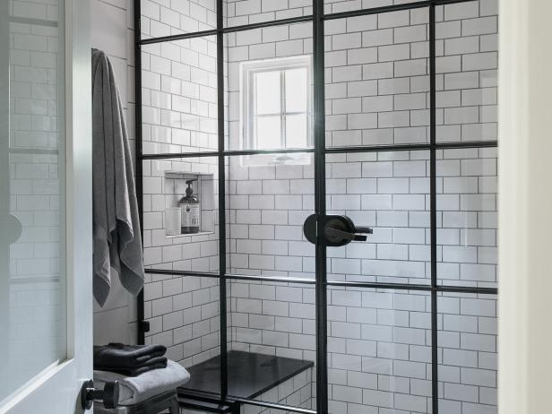 Black and White Shower With Subway Tile