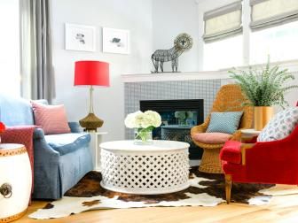 Neutral Transitional Living Room Full of Colorful Furniture