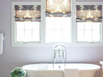 Claw-Foot Tub in Light Purple Master Bathroom