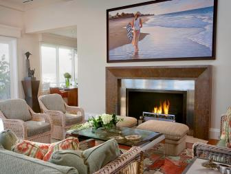 Neutral Living Room With Big TV