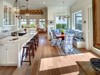 Cozy Transitional Breakfast Nook in Open Floor Plan Kitchen Space With Marble Countertop Bar Seating