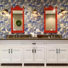 Sleek Double Vanity in Asian Master Bathroom