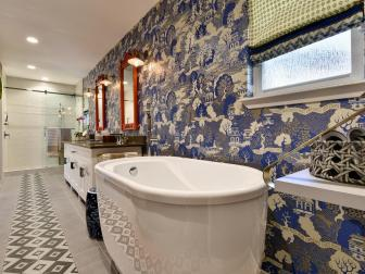 Asian-Inspired Master Bathroom With Large Soaker Tub
