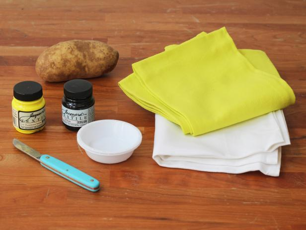 Potato-Stamped Kitchen Towels: Materials