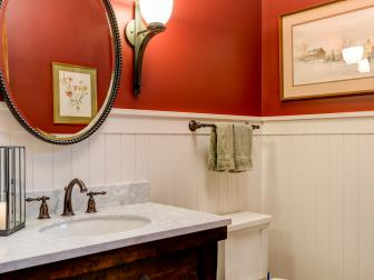 Orange Country Powder Room With Beadboard
