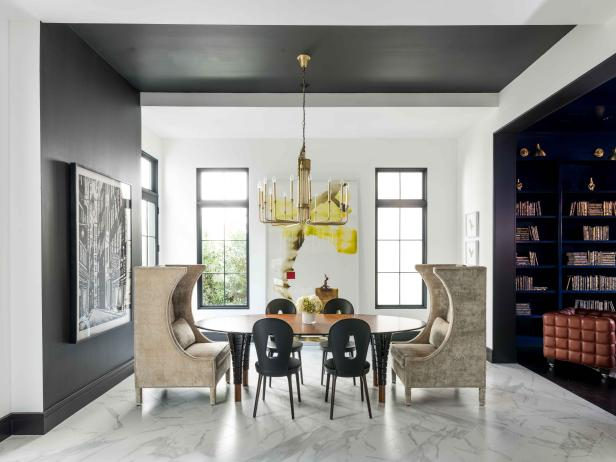 Contemporary Dining Room is Open, Bright