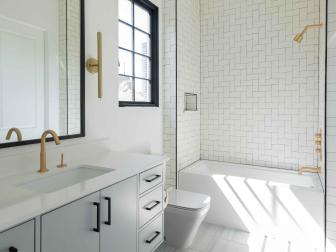 Bright White Bathroom is Contemporary, Sophisticated