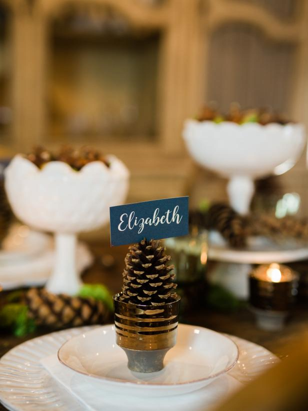 Rustic Pinecone Placecard Holder