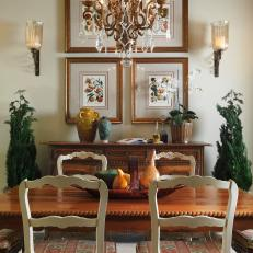 French Style Breakfast Room With Crystal Charm Chandelier And Pattern Cushioned Chairs