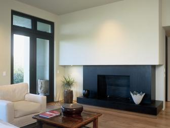 Asian Living Room With Black Fireplace
