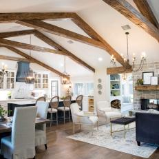 Remodeled Open Concept Living Space With Exposed Beam Vaulted Ceilings