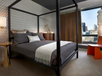 Contemporary Bedroom With Graphic Wallpaper