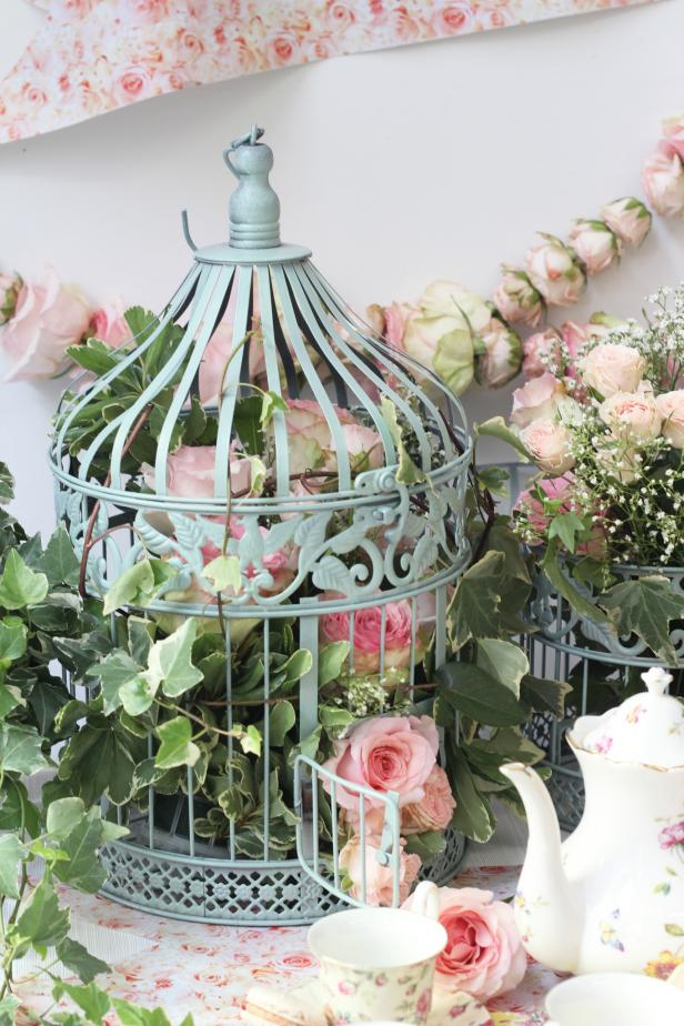 Floral Filled Birdcage Decoration for Rose Themed Baby Shower