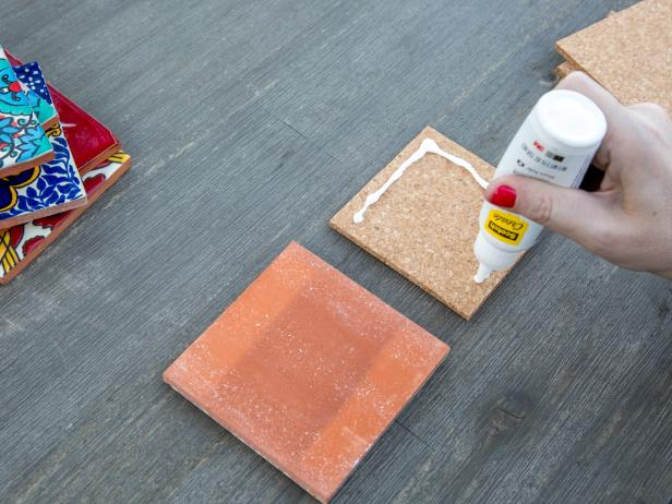 Easy DIY Tile Coasters: Add Glue to Cork Squares
