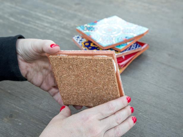 Easy DIY Tile Coasters: Adhere Cork to Tile