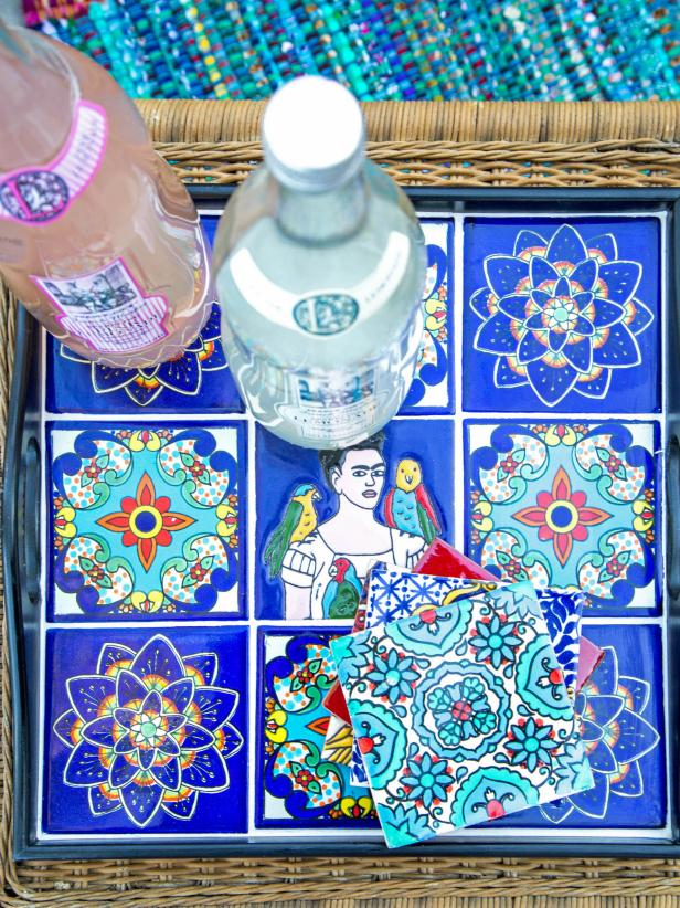 Colorful Tray Made From Mexican Tiles