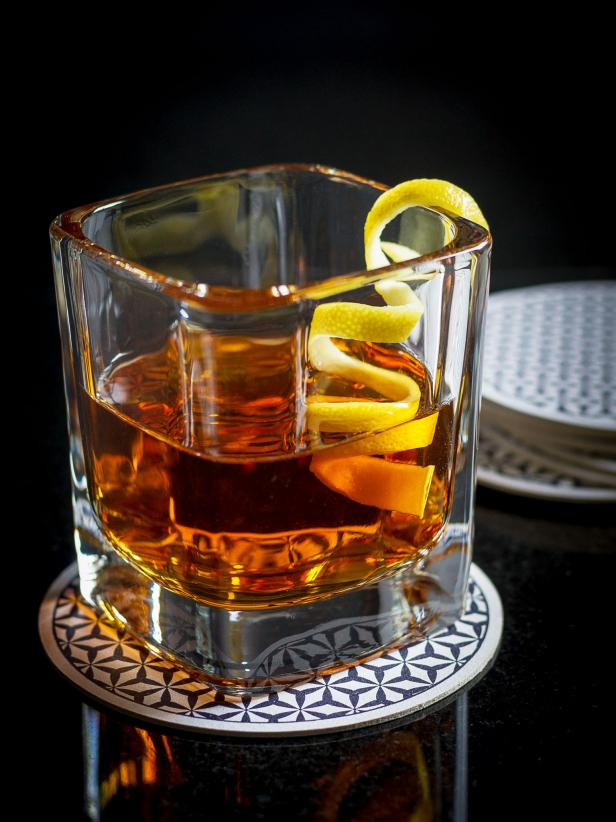 Sazerac Cocktail With Lemon Peel Twist Garnish
