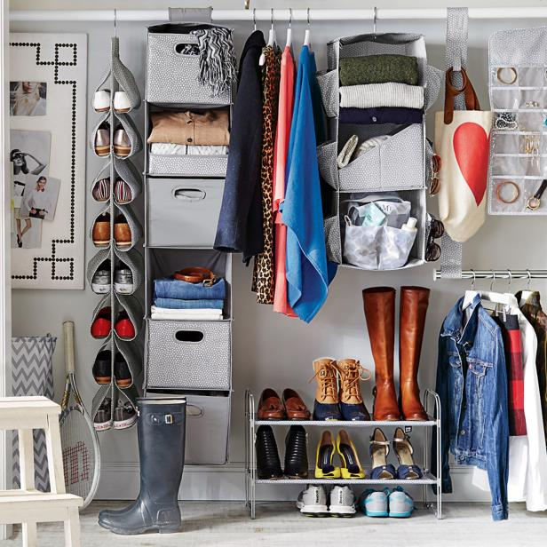 Tips for organizing a small reach in closet hgtv 39 s No closet hanging solutions