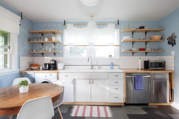 Sunny Blue Kitchen With Open Shelving
