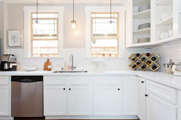 White Kitchen With Subway Tile Kitchen and Open Shelving