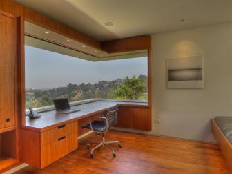 Modern Home Office With Wraparound Window