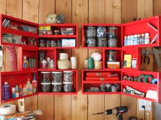 Red Cabinet Stores Hardware in Organized Garage