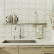 Neutral Modern Kitchen Sink and Floating Shelf