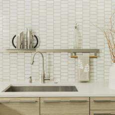 Neutral Modern Kitchen Sink and Floating Shelf