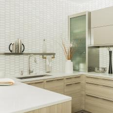 Neutral Modern Small Kitchen With Tile Walls