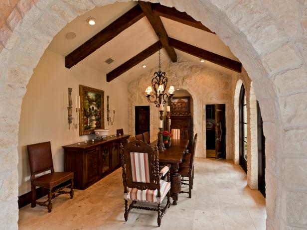 Spanish Dining Room with Arched Doorway