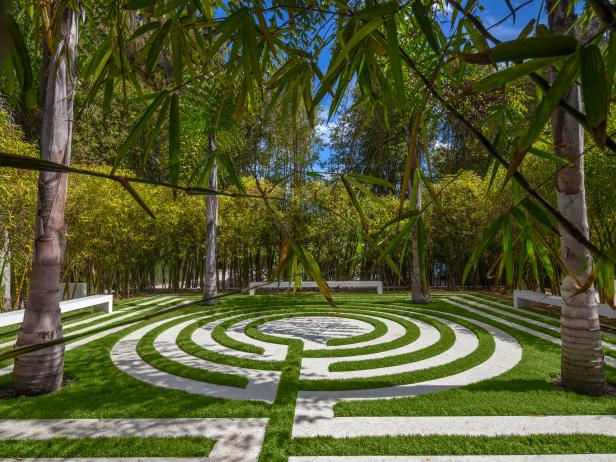 Labyrinth Surrounded by Bamboo and Palm Trees