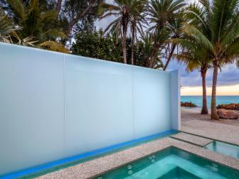 Outdoor Spa With Ocean View and Glass Privacy Wall