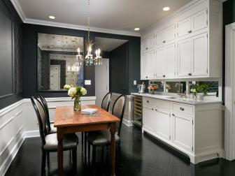 Black and White Cottage Kitchen With Chandelier