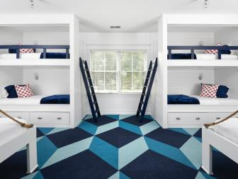 Blue and White Contemporary Kid's Room With Geometric Carpet
