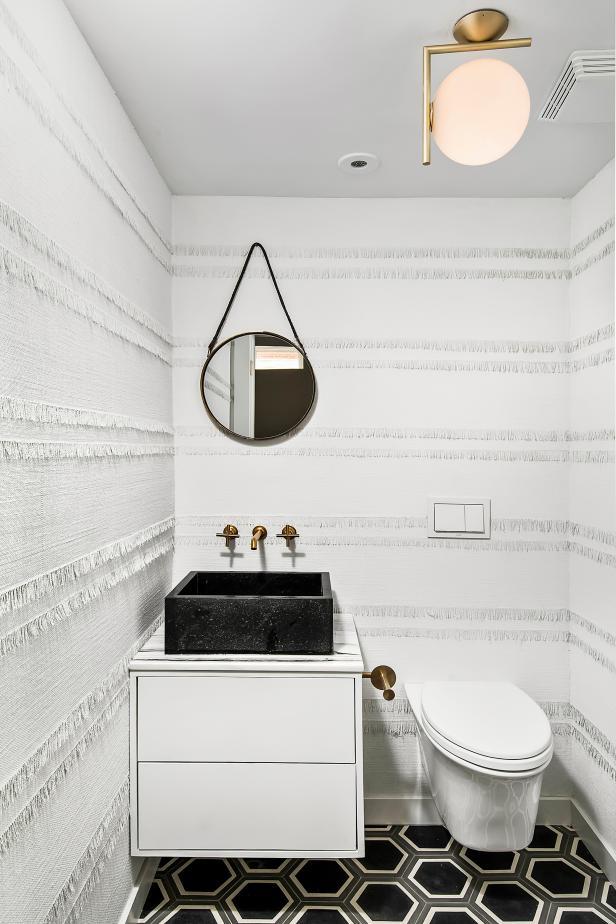 Black and White Contemporary Powder Room