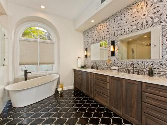 Stylish White Master Bathroom Featuring Ann Sacks Lux Tile