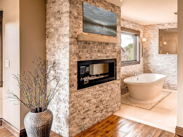 Contemporary Fireplace in Rustic Bathroom