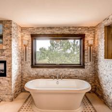 rustic contemporary master bathroom