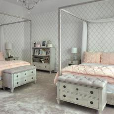 pink and gray girls bedroom with canopy beds