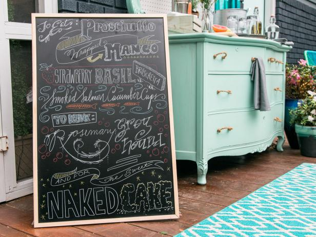 DIY Fake Hand Lettering Menu Chalkboard