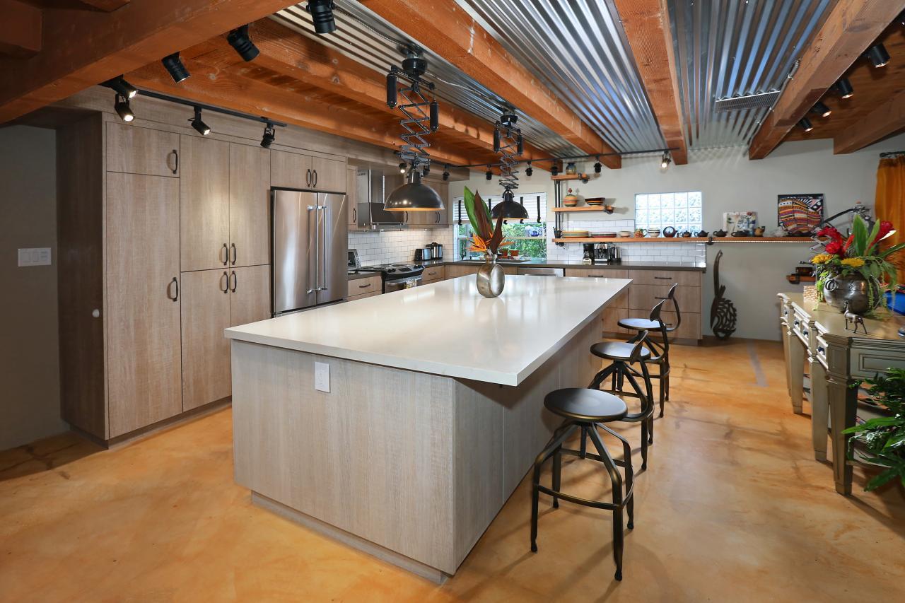 Open Plan Kitchen Combines Rustic Industrial Materials Hgtv
