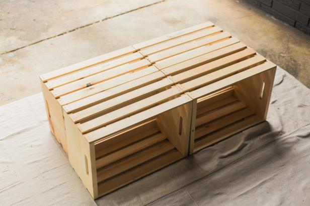 make a mobile outdoor coffee table from wooden crates | hgtv