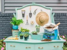 DIY Repurposed Outdoor Potting Bench Buffet STation