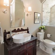 New Bathroom Features Antique Vanity With Original Tilework