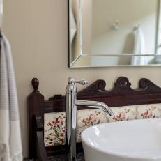 Antique Details Offer Contrast to Modern Fixtures in Bathroom
