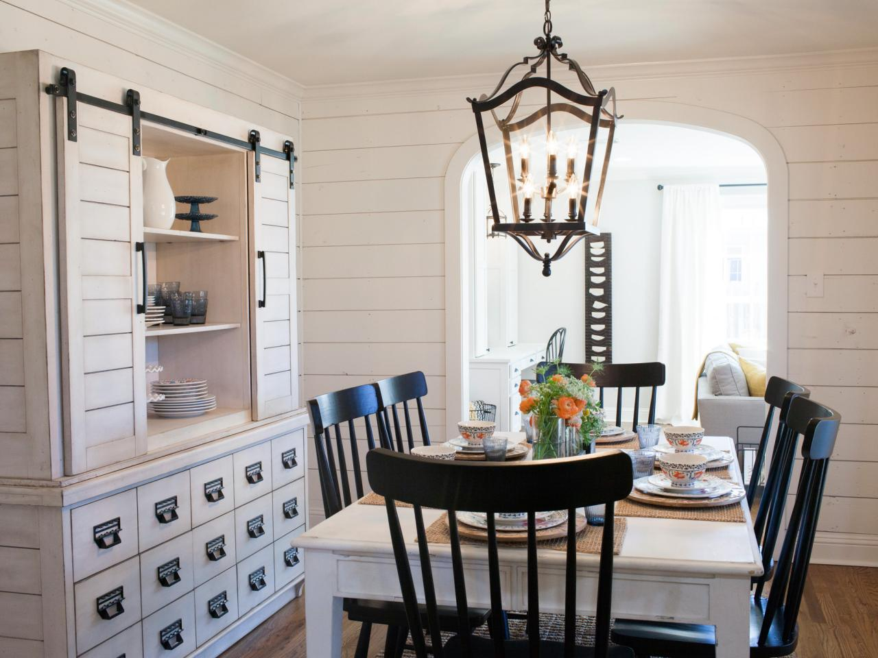 White Dining Room With Shiplap Walls Large Buffet And Hutch Country Lantern Chandelier