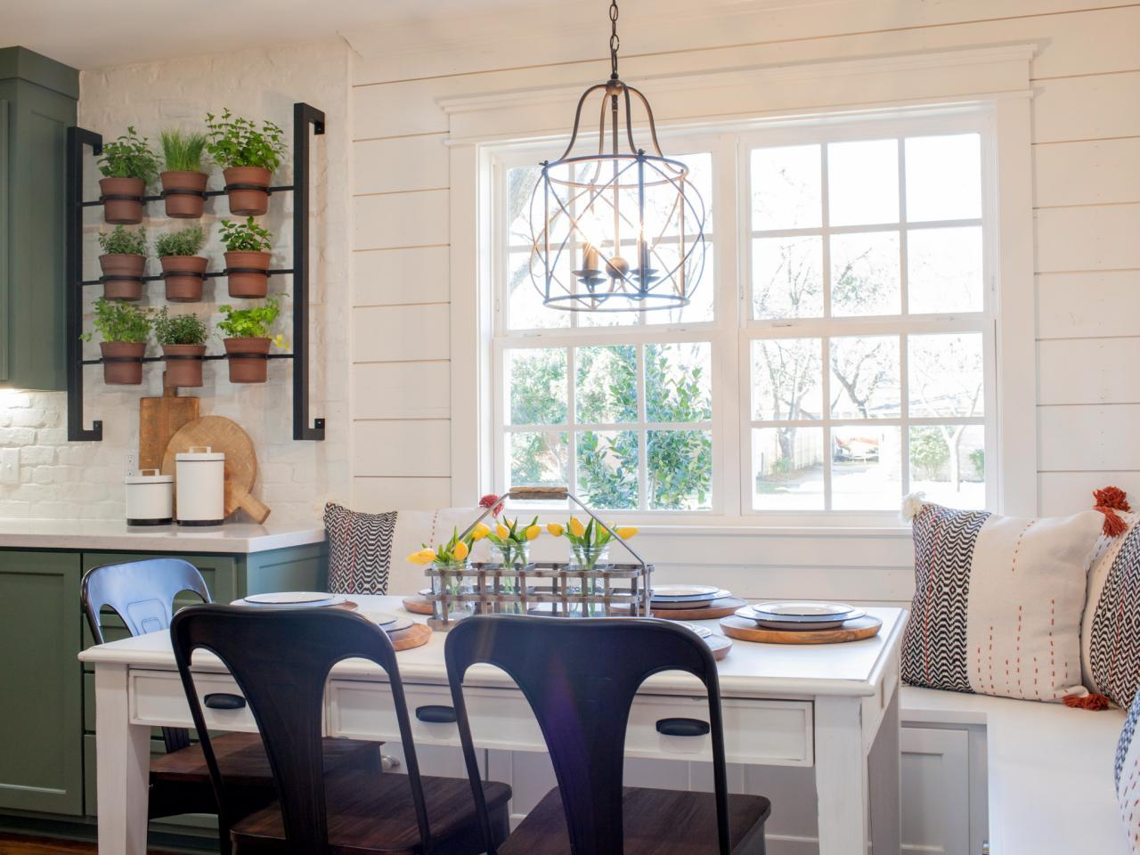 Country Breakfast Nook With Bench Seating, Natural Lighting And Simple  Country Table Setting