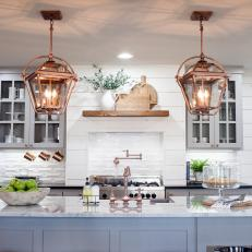 kitchen with copper pendant lights
